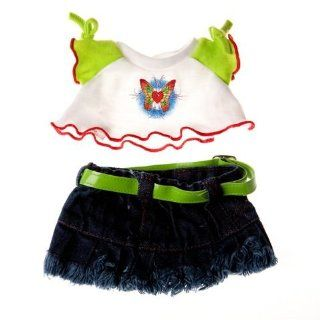 "Butterfly T Shirt & Skirt Outfit Clothing Fits 8"" 10"" Most Webkinz, Shining Star and 8"" 10"" Make Your Own Stuffed Animals and Build a bear: Toys & Games"