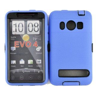 Hard Plastic Snap on Cover Fits HTC EVO 4G PC36100 Armor Blue Black Hybrid Case (Outside Blue Soft Silicone Skin, Inside Black Front and Back Hard Case) Plus A Free LCD Screen Protector Sprint (does not fit HTC EVO 4G LTE): Cell Phones & Accessories