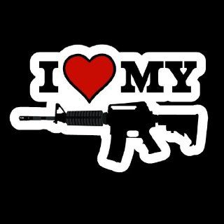 "I Love My Gun, Assault Rifle, AR 15, AK 47   4"" X 6.5"" Decal for the Outside of Vehicle Windows: Automotive"