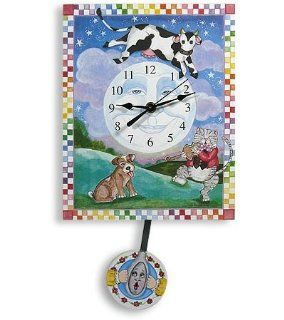 Hey Diddle Diddle, Cow Jumped Over the Moon Pendulum Clock   Nursery Wall Decor