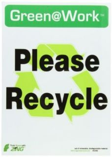 """Zing Environmental Awareness Sign, Header """"Green at Work"""", """"Please Recycle"""" with Recycle Symbol, 10"""" Width x 14"""" Length, Self Adhesive Eco Poly, Black/Green/White (Pack of 5) Industrial Warning Signs Industrial & Scienti"""