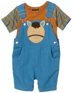 Mud Pie EIEIO Horse Overall Short/Tee, Blue/Brown, 2 3T: Clothing