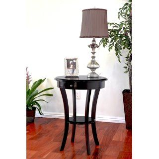 Winsome Wood Round Table with Drawer and Shelf, Black   End Tables