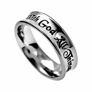 "Christian Women's Stainless Steel Absitnence ""With God All Things Are Possible"" Matthew 19:26 Comfort Fit 6mm Chastity Ring for Girls   Girls Purity Ring: Sports & Outdoors"