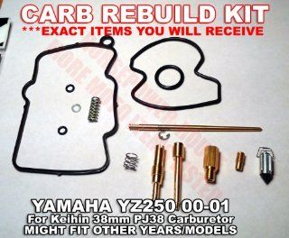 Carb Carburetor Rebuild Kit with O Ring Gasket 175 Main 50 Pilot Slow 55 Power Jet Needle Clip Spring and more for Keihin 38mm PJ38 Power Jet MX Carb fits Yamaha YZ250 (2 stroke) 2000 2001 00 01 and Possibly Other Brands and Models with Similar Carb  Othe