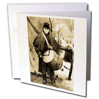 gc_6747_1 Scenes from the Past Antique Images   Civil War Drummer Boy Sepia tone   Greeting Cards 6 Greeting Cards with envelopes : Blank Greeting Cards : Office Products