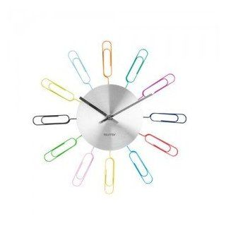 Present Time Wanted Paper Clip Wall Clock and Photo Holder, Multicolored   Wall Clock For Teen Girls