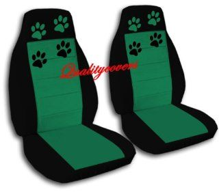 2 Black and Emerald Green seat covers with Paw Prints for a 2005 to 2007 Honda Accord. Please notify us if you have Side Airbags!: Automotive