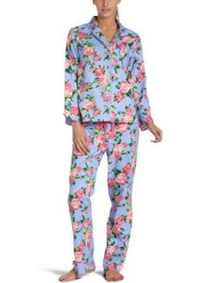 Betsey Johnson Women's Flannel Pajama Set, Thunder Rose Blue Dahlia, Small at  Women�s Clothing store