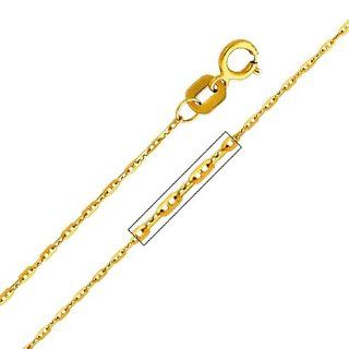 "14k Yellow Gold 1.0mm Anchor Link 1+1 Mariner Chain with Spring Ring Clasp (16"" 18"" 20"" 22"")   22"" Inches: Chain Necklaces: Jewelry"