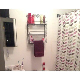 Classic Elegant Black Metal Wall Mounted Shelves Kitchen Spice Rack Bathroom Accessory Storage Muti Purpose Organizer Kitchen & Dining