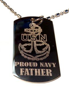 "United States Navy USN Anchor Armed Forces ""Proud Navy Father"" Engraved Star Logo Symbols   Military Dog Tag Luggage Tag Metal Chain Necklace: Jewelry"