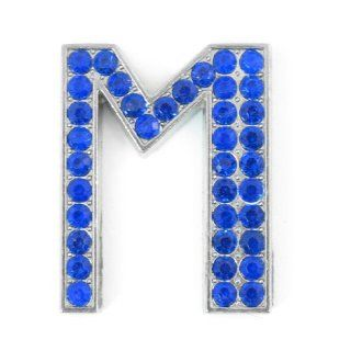 Car Blue Letter M Shape Rhinestones Metal Decorative Emblem Sticker: Automotive