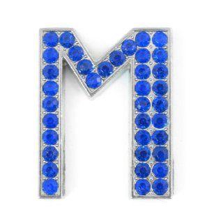Car Blue Letter M Shape Rhinestones Metal Decorative Emblem Sticker: Automotive