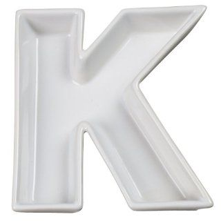 Ivy Lane Design Ceramic Love Letter Dish, Letter K, White: Kitchen & Dining