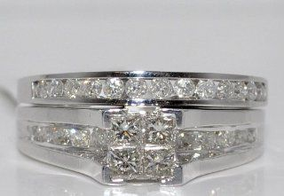 0.90CT PRINCESS CUT WEDDING SET ENGAGEMENT RING + BAND 10K WHITE GOLD ROUND SIDE: Jewelry