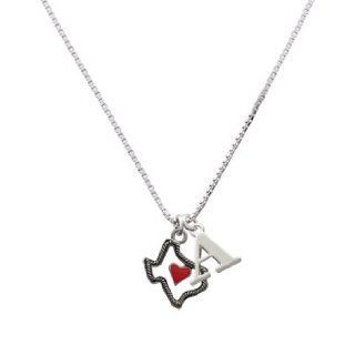 Open Rope Texas with Red Heart Initial A Charm Necklace: Pendant Necklaces: Jewelry