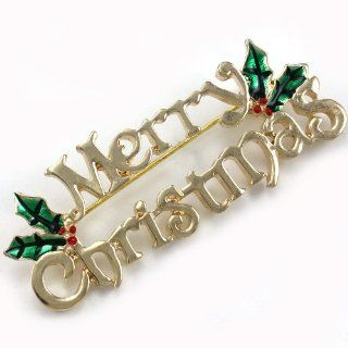Merry Christmas Pin Present Gift Stuffers Mistletoe Flower Brooch Winter Costume Jewelry: Jewelry