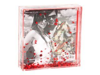 Present Time Wanted Red Heart Shaped Glitter Square Snow Globe Photo Frame   Decorative Frame Holders