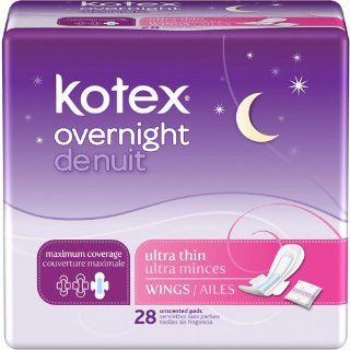 Kotex Overnight Ultra Thin Maximum Coverage with wings 28ct   Most coverage with Leak Lock core absorbs fluid quickly and locks it deep in the pad to keep you dry and protected  Health & Personal Care