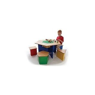 """Kids Wooden """"Shapes"""" Table and Stools lego activity table   Childrens Table And Chair Sets"""