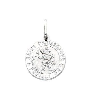 14K White Gold Medium Religious Saint Christopher Medal Charm Pendant: The World Jewelry Center: Jewelry