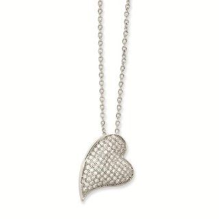 "Sterling Silver & CZ Cubic Zirconia Brilliant Embers Polished Heart Necklace   18"" Inches   Micro Pave Stone Collection: Reeve and Knight: Jewelry"