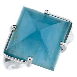 14K White Gold Genuine Aquamarine Band Ring   (Sizes 5 to 9): Reeve and Knight: Jewelry