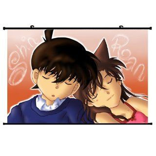 Case Closed Detective Conan Anime Wall Scroll PosterKudou Shinichi Mouri Ran(24''*16'') Support Customized   Decorative Plaques