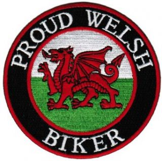 Proud Welsh Biker Embroidered Patch Wales Flag Iron On UK Motorcycle Emblem: Novelty Baseball Caps: Clothing