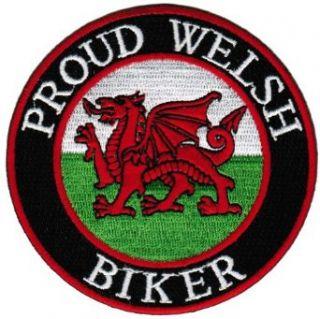 Proud Welsh Biker Embroidered Patch Wales Flag Iron On UK Motorcycle Emblem: Novelty Baseball Caps: Clothing