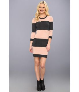 French Connection Bambi Total Stripe Dress Mahogany Nude/Charcoal Mel