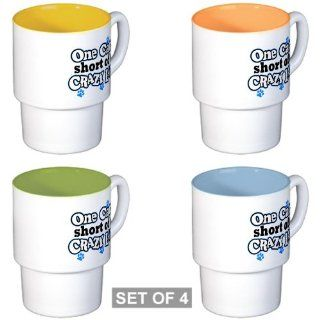 Stackable Coffee Mugs (4) One Cat Short of a Crazy Lady Proud Pet Owner  Coffee Cups