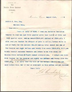 Meriden Horse RR Co letter re vouchers payable CT 1894: Entertainment Collectibles