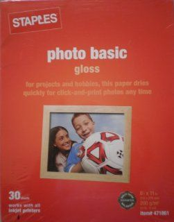 Staples Photo Basic Gloss #471861 ~ for projects and hobbie, this paper dries quickly for click and print photos any time: Everything Else