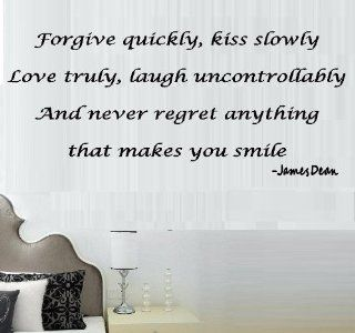 "FORGIVE QUICKLY, KISS SLOWLY: JAMES DEAN ~ WALL DECAL, New size 12"" X 28"": Kitchen & Dining"