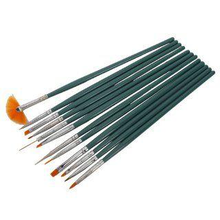 12pcs Professional Nail Art Design Painting Drawing Pen Brush Brushes Tool Set Kit Green Handle  Beauty