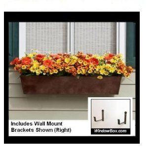Tapered Galvanized Window Box   Bronze   72 Inch  Includes (2) 8 Inch Shelf Bracket Pairs : Plant Window Boxes : Patio, Lawn & Garden