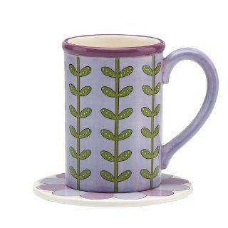 Gorham Mary Mary Quite Contrary Purple Mug w/ Coaster Lid: Kitchen & Dining