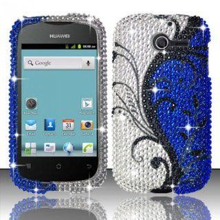 For Huawei Ascend Y M866 (StraightTalk) Full Diamond Design Cover   Blue Vines FPD: Cell Phones & Accessories