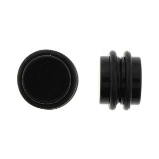 "No Piercing Required   High Quality Black Acrylic Fake Plugs   Imitation 00G with ""O"" Rings  Very Strong Magnets   Sold as a Pair: Jewelry"
