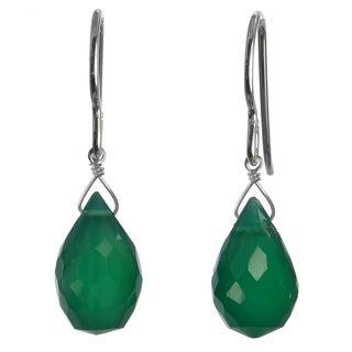 Ashanti Sterling Silver Emerald Green Chalcedony Briolette Natural Gemstone Handmade Earrings (Sri Lanka) Ashanti Earrings