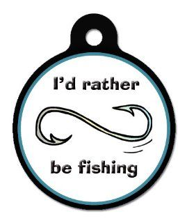 I'd Rather Be Fishing   Pet ID Tag, 2 Sided Full Color, 4 Lines Custom Personalized Text Available  Pet Identification Tags