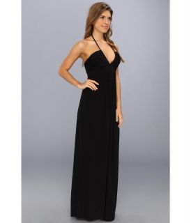 Tbags Los Angeles Deep V Ruched Maxi Dress w/ Braided Ties CO8 Print