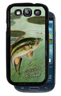 I'd Rather Be Fishing! Largemouth Bass   Black Protective Rubber Cover Samsung Galaxy S3 i9300 Phone: Cell Phones & Accessories