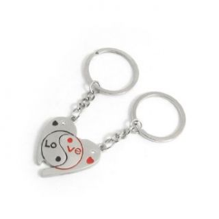 English Letters Print Half Heart Keyring Chain Pair for Lovers: Clothing