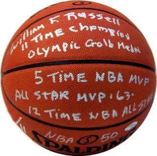 Signed Bill Russell Basketball   Statistics Leather Limited Edition : Sports Related Collectibles : Sports & Outdoors