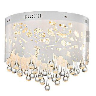 """16"""" Crystal Water Drop Hanging Ceiling Lamps Hollow Flower White Acrylic Dining Room Ceiling Light Romantic Bedroom Ceiling lamp   Led Household Light Bulbs"""