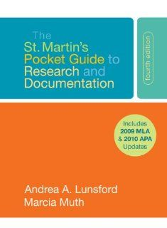 The St. Martin's Pocket Guide to Research and Documentation with 2009 MLA Update (9780312594602): Andrea A. Lunsford, Marcia F. Muth: Books