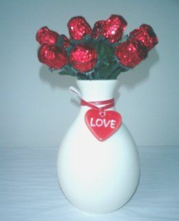 "Red Sweetheart Chocolate Roses ""Simply Said"" Gift Vase (1 Doz) : Gourmet Chocolate Gifts : Grocery & Gourmet Food"